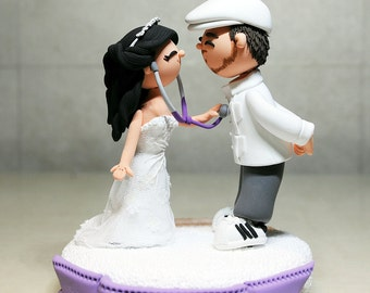 Custom Cake Topper- Doctor and Artist Theme Wedding Cake Topper