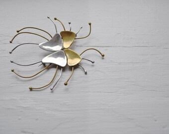 sale  - ATOMIC SPIDER Vintage Sterling and Brass Mexican Taxco Brooch