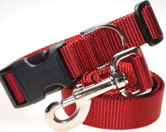 """Dark Red Collar and Leash Combination - 1"""" Width"""