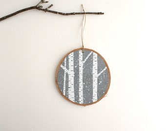 Winter Birch Forest Ornament - Hand Painted Christmas Ornament - Woodland Ornament