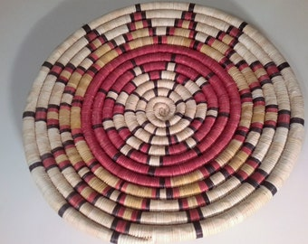 Native American Basket Hopi Kootswatewa Hand Crafted Coiled Woven Large Polychrome 13 Point Star / Flower Petal Design Southwest USA
