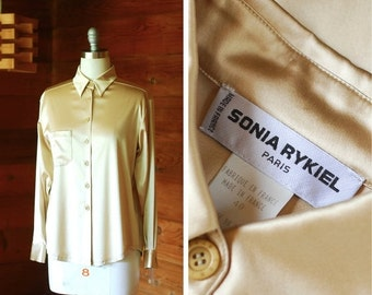 20% OFF FALL SALE / vintage Sonia Rykiel champagne silk satin blouse / size medium