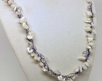 White Mother of Pearl Necklace - Crystal Quartz Silver filigree