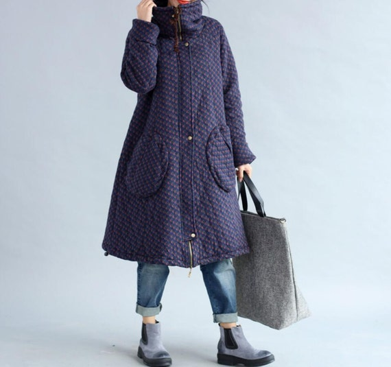 Winter loose padded coat large size long overcoats in dark blue/ Coffee/ red