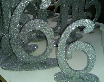 "Wedding Table Numbers - Glitter Table number - 6"" Numbers - 1-20 - wooden table number -wood table number - Glitter numbers - Silver numbers"