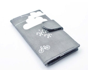 Rainy Day Wallet, Women's Fabric Clutch, Vegan Wallet, Rain Cloud Wallet, Grey, White, and Navy, Made to Order