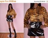 CYBER MONDAY SALE 90s Tiger Print Button Down Shirt/ Us 8/ 1990s/ Silky/ Animal Print
