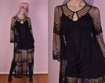 VTG Black Mesh Lace Duster/ Medium/ Coat/ Jacket/ Floral/ Sheer/ Lingerie