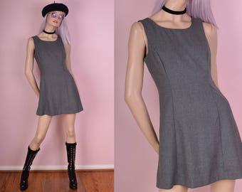 90s Gray Mini Dress/ Small/ 1990s/ Tank/ Sleeveless