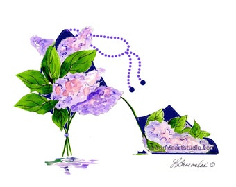 Light Lilac Ankle Chain Flower Shoe Print 2005 rev. 2016 - Signed and Enhanced with Watercolor. Wall Art Free Shipping