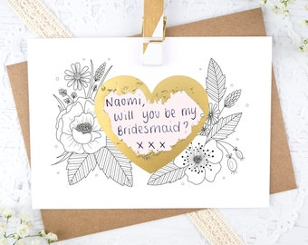 Wedding Scratchcard - Be my Bridesmaid? - Be my Maid of Honour? - Personalised Scratch off - Be my witness? - Secret message card