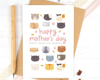 Cat Mother's Day Card - Pet Mother's Day Card - Fur Baby - From your fur babies - Cat Mum - Cat Dad - From the Cat
