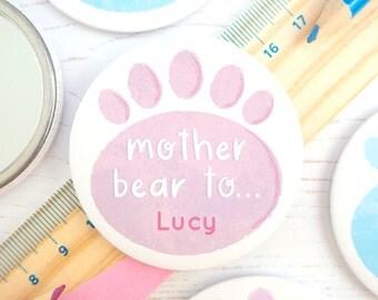 Personalised Paw Print Mirror - Mother Bear - Mother Bear Gift - Gift for mum - Gift for her - Bear cubs - Mama Bear - Baby Bear