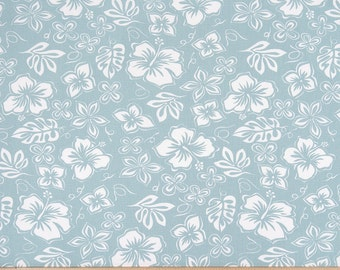 Blue White Floral Tropical Curtains Hibiscus  Rod Rocket  63 72 84 90 96 108 120 Long x 25 or 50 Wide