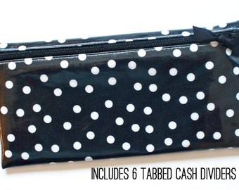 Cash budget wallet with 6 dividers for Dave Ramsey envelope system | black and white dot laminated cotton