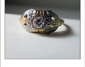Antique Art Deco 14k VVS  Diamond Engraved Engagement Ring