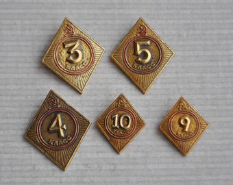 "Set of 5 Vintage Soviet Russian aluminum badges.""Soviet School badges"""