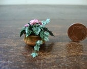 Miniature for dollhouse  earthenware vase with cyclamen plant and ivy