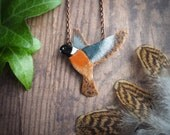 European stonechat pendant, nature inspired bird necklace, modern necklace for nature lover, enameled copper pendant, gift for her