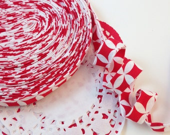 Bias Tape, Handmade Bias Tape, Seam Binding, Binding Tape, Quilt Binding, Red And White, Choose Your Length