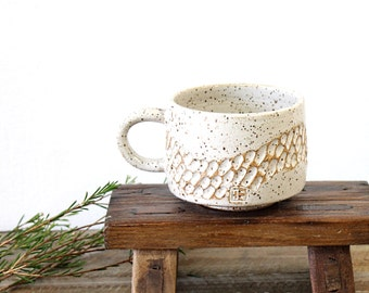 Carved Coffee Cup, Textured POttery Mug, Handmade Ceramic Mug, Ceramic Coffee Mug,