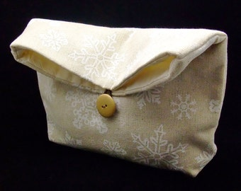 Foldover clutch, Fold over bag, clutch purse, evening clutch, wedding purse, bridesmaid gifts - Snowflakes (Ref. FC22 )