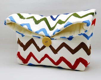 Foldover clutch, Fold over bag, clutch purse, evening clutch, wedding purse, bridesmaid gifts - Chevron on white (Ref. FC39 )