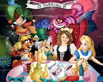 Personalize Alice in Wonderland Invitation, Tea Party, Alice Birthday Invite
