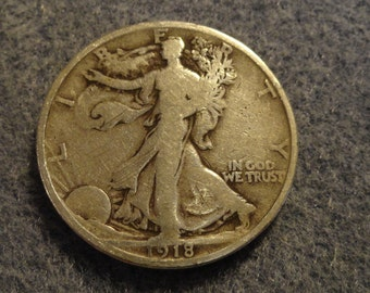 1918 Walking Liberty SILVER Half Dollar