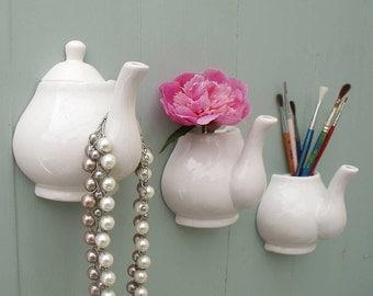 Wall mounted Teapot hooks & Vases