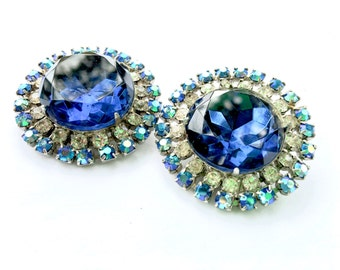 Huge Blue Rhinestone Buttons Aurora Borealis DIY Sewing Crafting Vintage Fashion Accessory