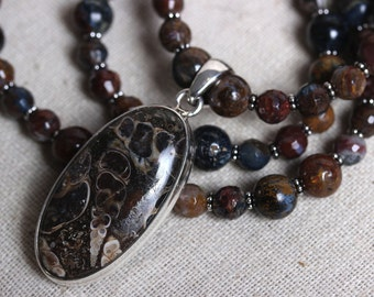 Sterling Silver and Turritella Agate Oval Pendant with Pietersite Necklace - Fossil