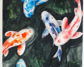 Original Painting, Koi Pond, Watercolor Art, Koi Fish, Nature, Animals