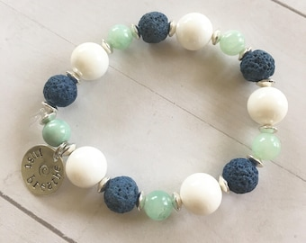 White Aqua Silver and Navy Essential Oil Diffuser Bracelet