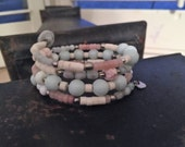 Delicate Peruvian Pink Opal and Blue Aquamarine Memory Wire Bracelet Glass Silver Beads