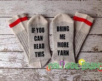 Yarn Socks, FAST SHIP, Bring Me Socks, Saying Socks, Crochet Socks, Wine Socks, Novelty Socks, Christmas Socks, Stocking Stuffers, birthdays