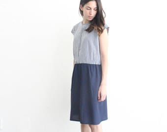 vintage navy blue striped preppy shift dress