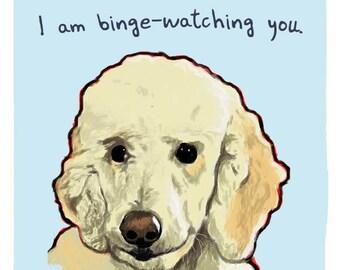 Goldendoodle Binge Watcher 8x10 Print of Original Painting with phrase