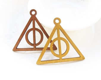 Dyeing Series - 54x 49mm Filigree Light Brown / Coffee Geometrical Triangle Wood Dangle/ Wooden Charm/Pendant NM170