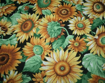 NEW Sunflower Summer Floral Flower Fabric Yellow Green Black Cotton 39 by 44 inches