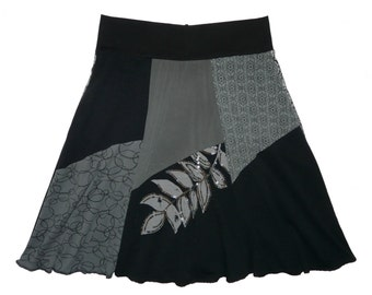 Upcycled Skirt Women Size XL 1X 16 18 Hippie Skirt Boho Skirt Midi Skirt Black Cotton Skirt Women's upcycled clothing from Twinkle