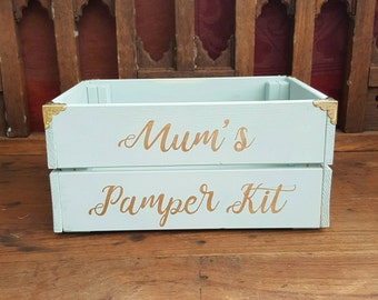 Pamper Kit Gift Box Mum's Mother's Day Gift Wooden Crate Rustic Bathroom Storage Gift for Mum Pamper Hamper