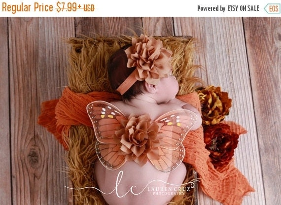 20% OFF SALE Monarch Butterfly wings, baby wings and/or matching headband for newborn photos, photo prop, newborn photographers by Lil Miss