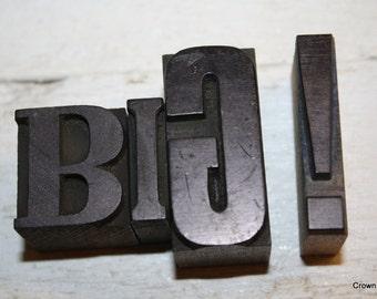 Letterpress Letters - BIG !  - Vintage Printing Decor - Home Decor