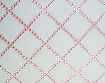 """Leather 8""""x10"""" Pink Pastel CHAIN QUILTED Pattern Cowhide 3-3.5 oz / 1.2-1.4 mm PeggySueAlso™ E3450-04"""