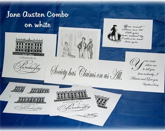 CLEARANCE Jane Austen Fabric Patches WHITE Combo Set Quilt and Craft Blocks with Jane Austen Graphics and Quotations