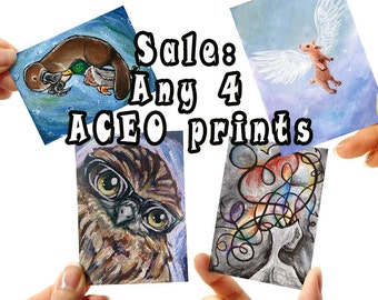 Sale: Set of 4 Prints, ACEO Card Your Choice, You Choose Any Print, Animal Illustration, Pick Your Own, Nursery Decor, Wall Art, Discount