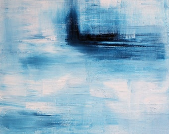 Minimalist ABSTRACT Fine Art - Original Abstract Painting of a Seascape on Streched Canvas - Ready to Hang Wall Art - Blue Landscape