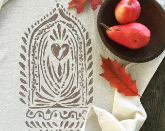 Love Altar Yoga Towel. Natural Cotton Towel. Kitchen Linens. Cotton Table Linens. Natural Kitchen Cloth. Housewarming GIft. Print Flour Sack