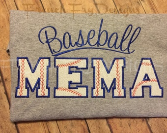 Baseball MEMA Grandparent Applique Shirt Customized